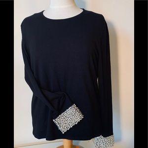 Talbots Black Pearl Beaded Cuff Sweater.